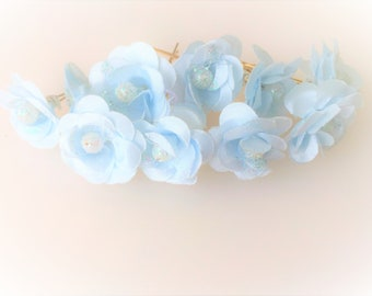 Bridal Hair Accessories,  Blue Rose, Baby  Blue flower Hair Bobby Pin, Brass Bobby pin- set 10