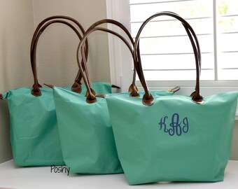 Personalized Tote, Bag, Monogram Tote, Bridesmaid, Gift for her, Champ, Nylon Tote, bride, 5 COLORS
