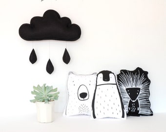Black felt cloud, monochrome kids room decor, cloud cushion,kids decor, the butter flying,raindrops, black kidsroom