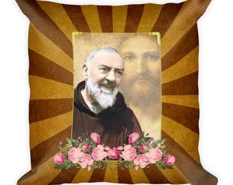 Square pillow - Saint Pio of Pietrelcina - Padre Pio Pillow - catholic home decor - couch pillow - throw pillow