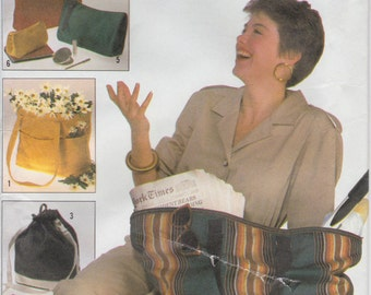 Tote Bag Pattern Clutch Cosmetic Beach Grocery Shoulder Uncut Simplicity 8657