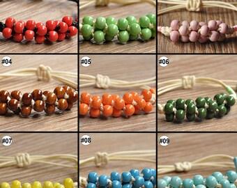 1PC China Jingdezhen Porcelain Jewelry Beads Ceramic Bracelet Grapevine knot Handmade
