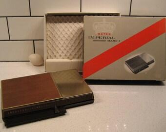 BOGO 40% OFF // Vintage Bates Imperial Mark 1  List Finder - New Old Stock - Very Swanky - Original Box - Walnut & Brass - made in USA