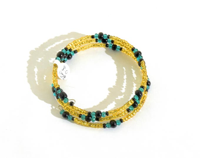 Golden, Teal and Black Beaded Wrap-Around Bangle- crafted by Nepalese human trafficking victims