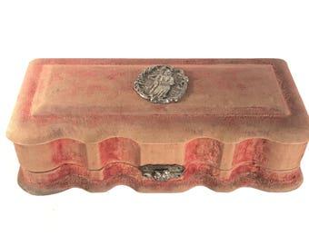 Victorian Red Velvet Jewelry Trinket Box