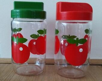 Jar and sugar bowl red apples Henkel vintage