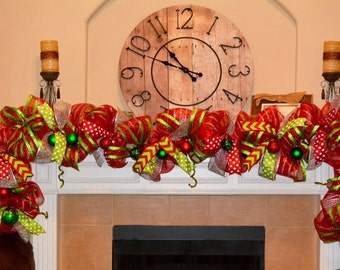 Red and Lime Mantle or Front Door Garland