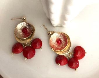 Cardinal earrings