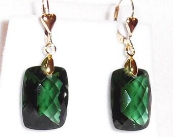Green Amethyst Earrings 36cts Natural Cushion Green Amethyst gemstones, 14kt yellow gold Heart Leverback Earrings