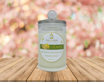 Scented Natural Soy Candle Lemon in Medium Jar 130 g (4.6 oz) - 34 Hour Burn Time