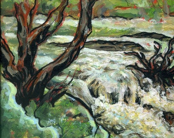 River Hafren / Severn on a cold day in May by Alexandra Cook aka Linandara, 25x30 cm, Acrylics and inks on canvas