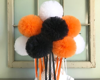 Halloween Tulle Pom Pom Wand Centerpiece, Halloween Party Favors, Costume Accessories