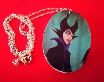 #handmade necklace with wooden pendant of evil #disney #maleficent