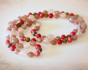 Extra Long Bohemian Necklace in Pink and Purple. Hand Knotted Gemstones & Acai Beads. Optional Earrings Available