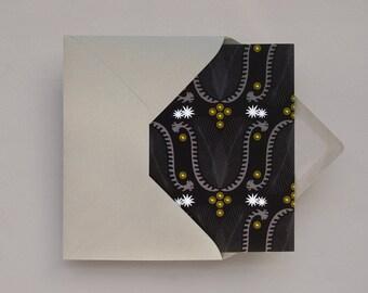 Australian Lyrebird greeting card  – Blank A6 card – Wattle and Flannel Flower