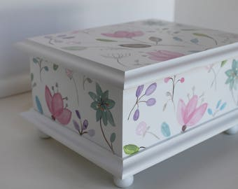 Baby Keepsake Box Memory Box hand painted personalized baby gift watercolor floral