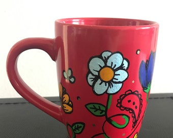 Paisley Print Hand-Painted Mug