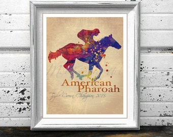 Vintage American Pharoah Watercolor Pharoah watercolour Race Horse painting Triple Crown Champion Print thoroughbred painting, Pharaoh print