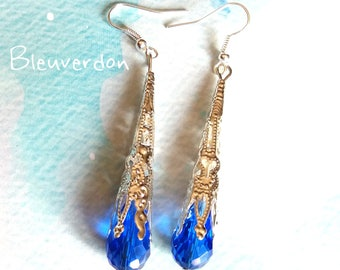 Blue Crystal drop long earrings