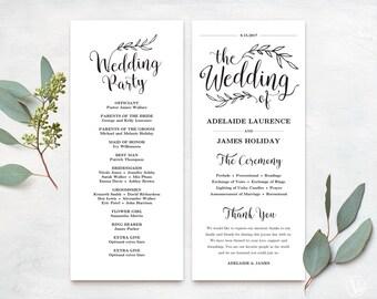 Wedding Programs, Printable Wedding Program Template, Kraft Paper Program, DIY Wedding Program, Tea Length, Vintage Wedding, VW01