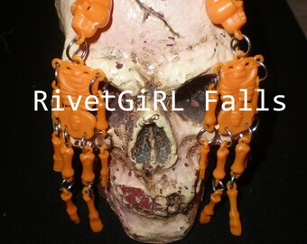 Large Orange Skeleton Earrings by RivetGiRL Falls