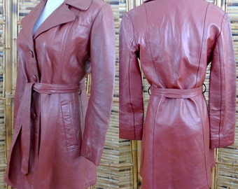CLEARANCE! Vintage 1970s Rust Brown Belted Leather Jacket - Medium
