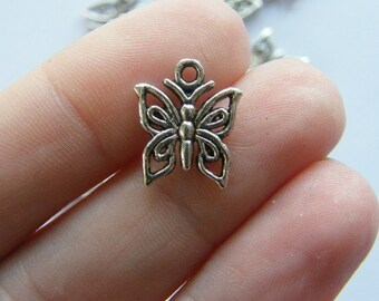 12 Butterfly charms antique silver tone A334