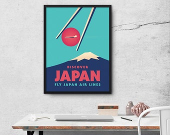 Japan Airlines Mt Fuji Sushi Chopsticks Tourism Travel Poster Art Print