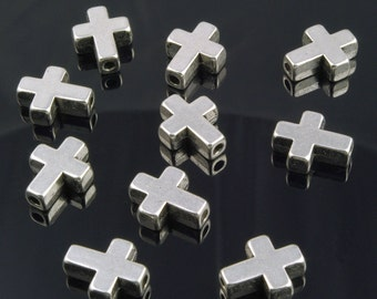 Cross Beads Silver Plated Pewter 14mm x 12mm - 8 Pieces