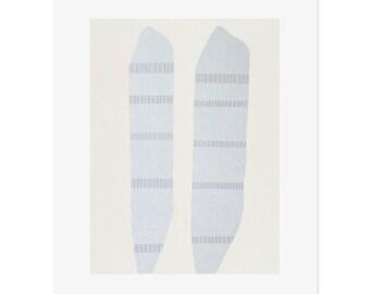 Large original drawing screenprinted onto beautiful paper in blue, grey, cream. Abstract, minimal art by Emma Lawrenson