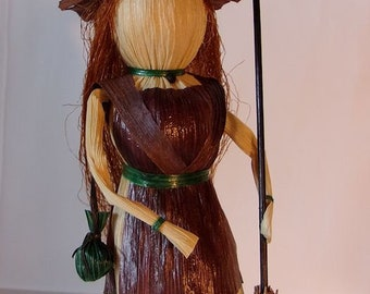 Kitchen Witch Corn Husk Art Doll with Besom and Herb Bag