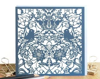 William Morris card, Wedding card, Wedding bird card, Engagement card, Lovebirds card, Morris birds card, Morris lover card, Papercut card