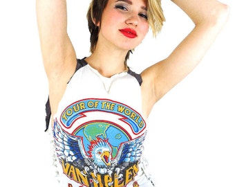Vintage Van Halen Shirt 80s Tee 1984 Tour Eagle Soft Thin Boho Hippy Rocker David Lee Roth Band Tee Rock Tee 80s shirt Soft Thin Rock n Roll