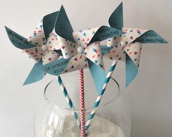 Pinwheels wind triangle & turquoise