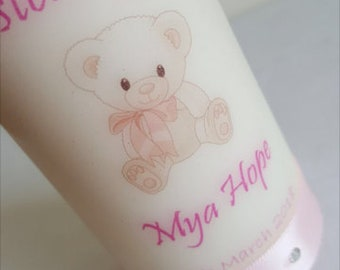 Baby Girl Christening Personalised Candle