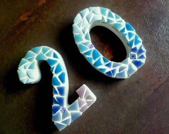 TO ORDER. Door number, door, figure Street, mosaic wall decoration, ceramic door plaque