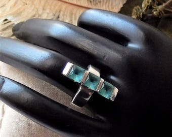 Unique Artisan Sterling Silver .925 London Blue Topaz Artisan Ring Size 5.75