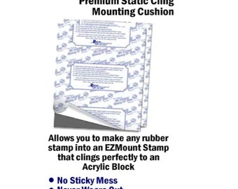 EZMount - Static Cling - Mounting Cushion - Crafters Companion - Mounting Foam - Make any rubber stamp cling to an acrylic block - E Z Mount