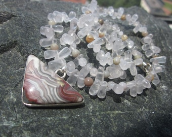 Laguna Lace Agate Rose Quartz Coprolite Necklace: find the wit in the existance