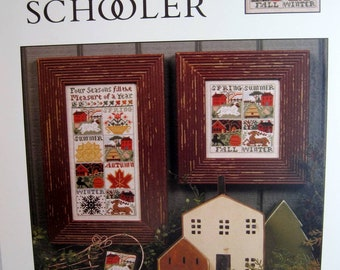PRAIRIE SCHOOLER Measure of a Year counted cross stitch pattern, Spring, summer, Autumn and Winter cross stitch pattern