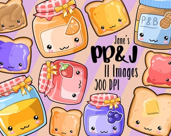 Kawaii Peanut Butter and Jelly Clipart - Toast ClipArt - Instant Download - Jams and Jellies - Honey