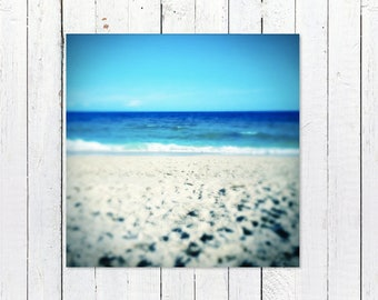Printable Beach Art | Turquoise Sea, Ocean Waves, Blue Sky | Instant Digital Download Beach Photography | Printable Beach House Decor Art
