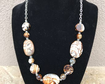 Verigated Brown & Cream Glass Bead Necklace