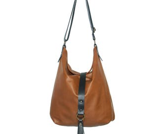 Cognac and black leather hobo bag