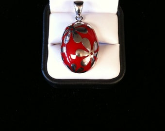 925 St/Silver  Charm Beautiful  Red Marble  Stone 12.8 gm.