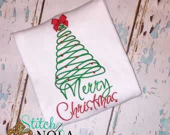 Merry Christmas Tree, Christmas shirt, first Christmas T-Shirt, Romper or Bodysuit