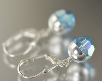 March Birthstone earrings Aquamarine earrings Swarovski crystal earrings blue dangle earrings