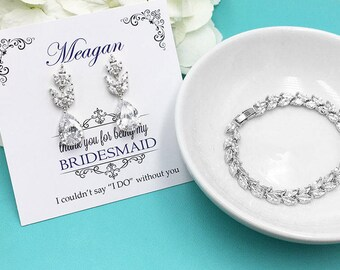 Bridesmaid Jewelry Gift Set, Bridesmaid Bracelet Set, Silver Bridesmaid Jewelry Gift, Evelyn Bridesmaids Bracelet and Earrings Set