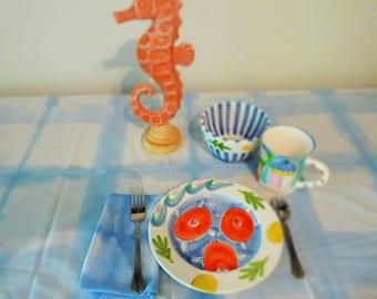 Ice blue/white shibori dyed tablecloth w 4 napkins