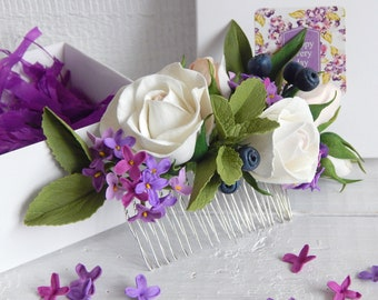 Ivory lilac flower hair comb Ivory rose wedding hair piece Purple wedding hairpiece Flower hair jewelry Bridal headpiece Bride accessories